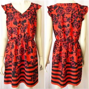 Kensie Large Red and Black Floral Mini Dress
